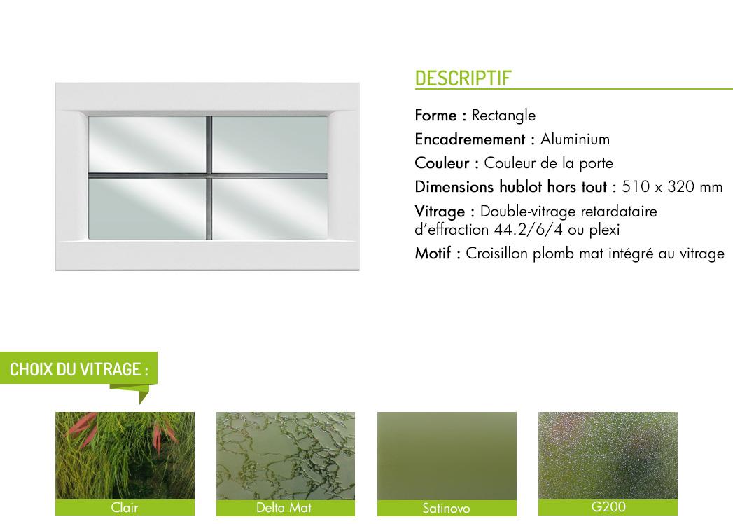 Encadrement aluminium rectangle motif intégré croisillon plomb mat
