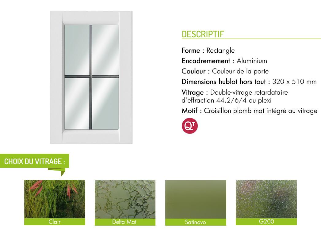 Encadrement aluminium rectangle motif croisillon plomb mat intégré au vitrage
