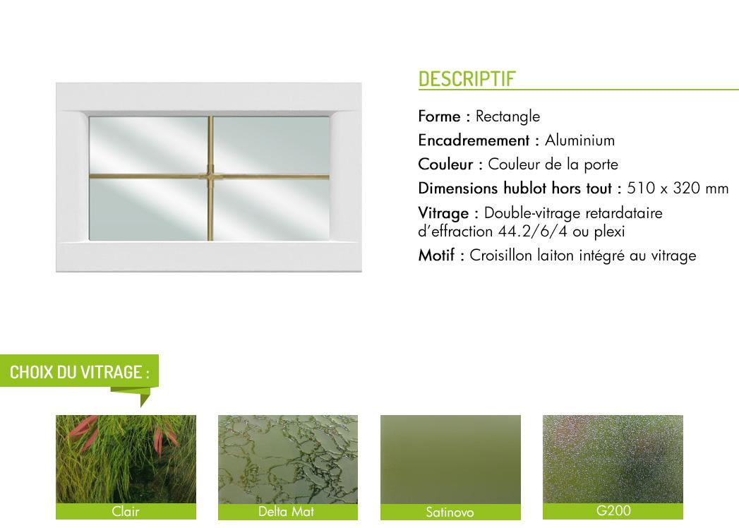 Encadrement aluminium rectangle motif intégré croisillon laiton