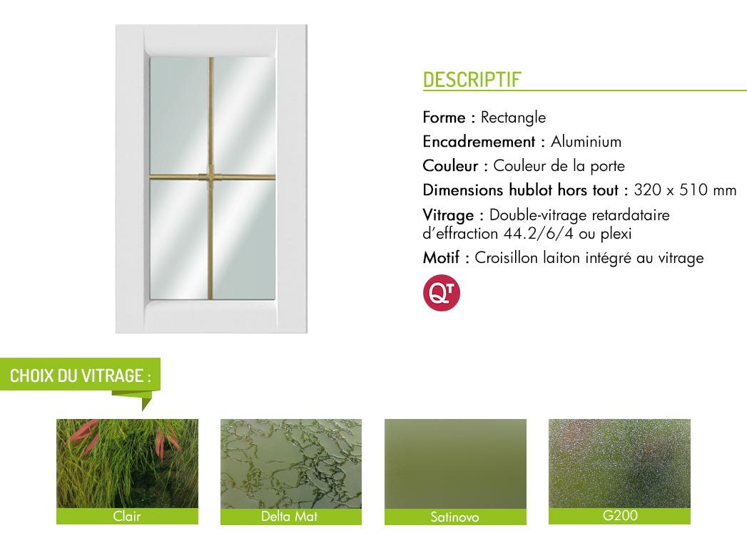 Encadrement aluminium rectangle motif croisillon laiton intégré au vitrage