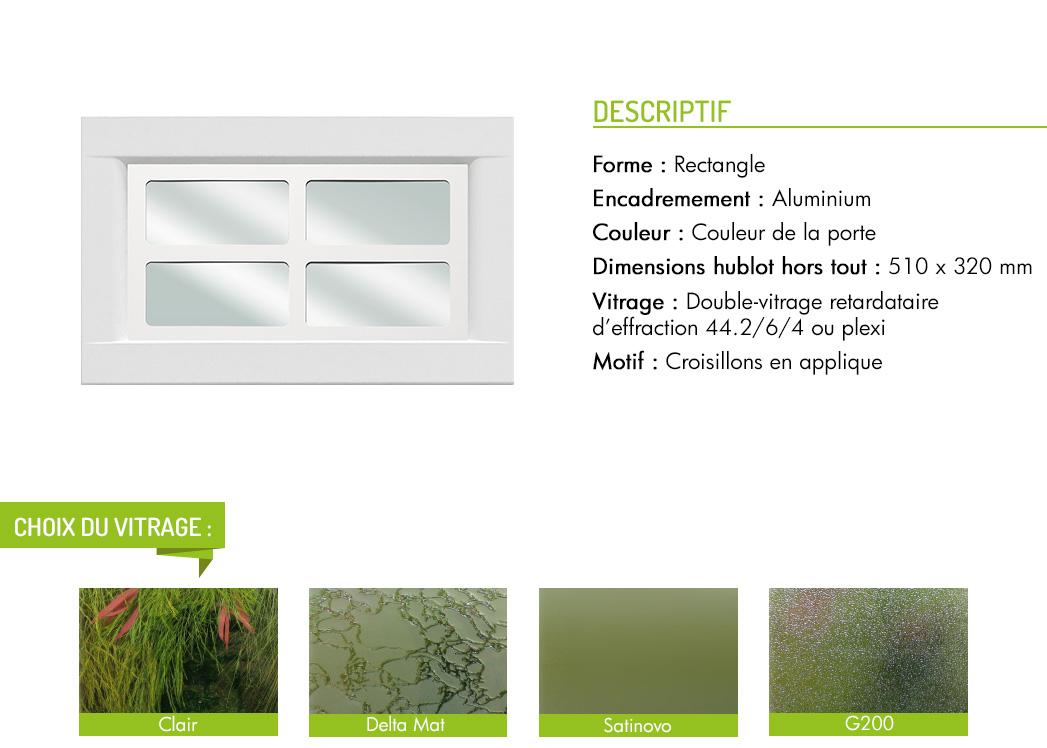 Encadrement aluminium rectangle motif intégré croisillon en applique