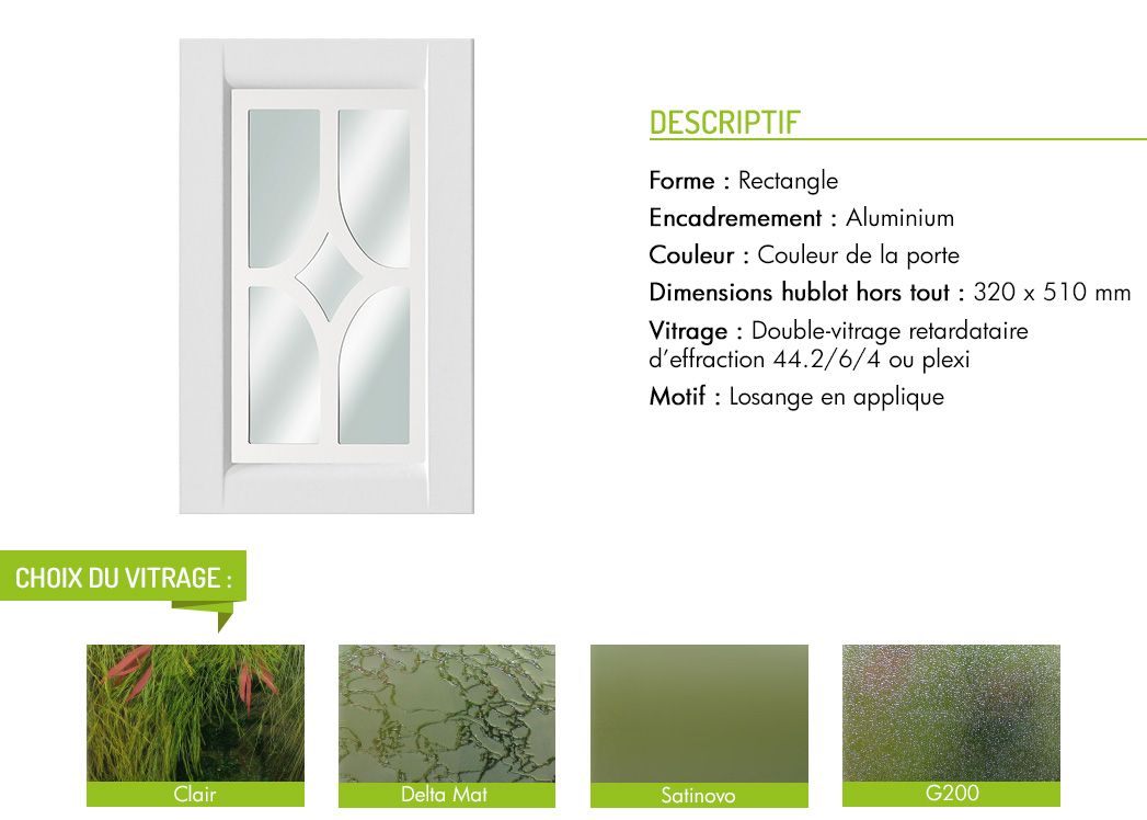 Encadrement aluminium rectangle motif en applique losange