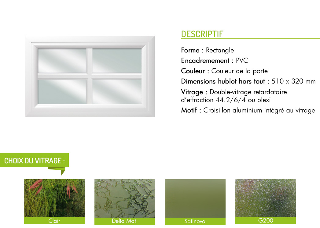 Encadrement PVC rectangle motif intégré croisillon aluminium
