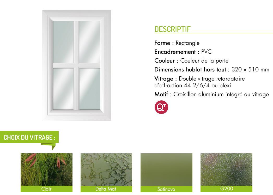 Encadrement PVC rectangle motif croisillon aluminium intégré au vitrage