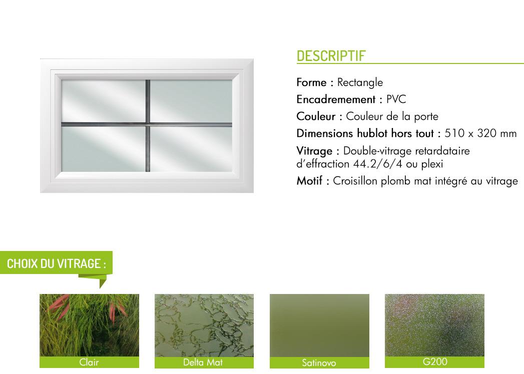 Encadrement PVC rectangle motif intégré croisillon plomb mat