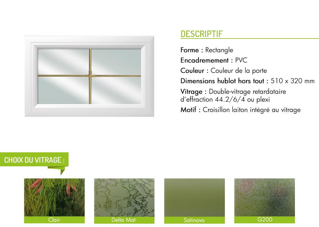 Encadrement PVC rectangle motif intégré croisillon laiton