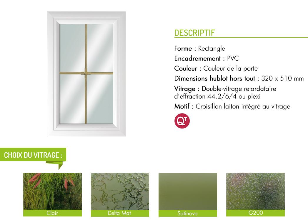 Encadrement PVC rectangle motif croisillon laiton intégré au vitrage