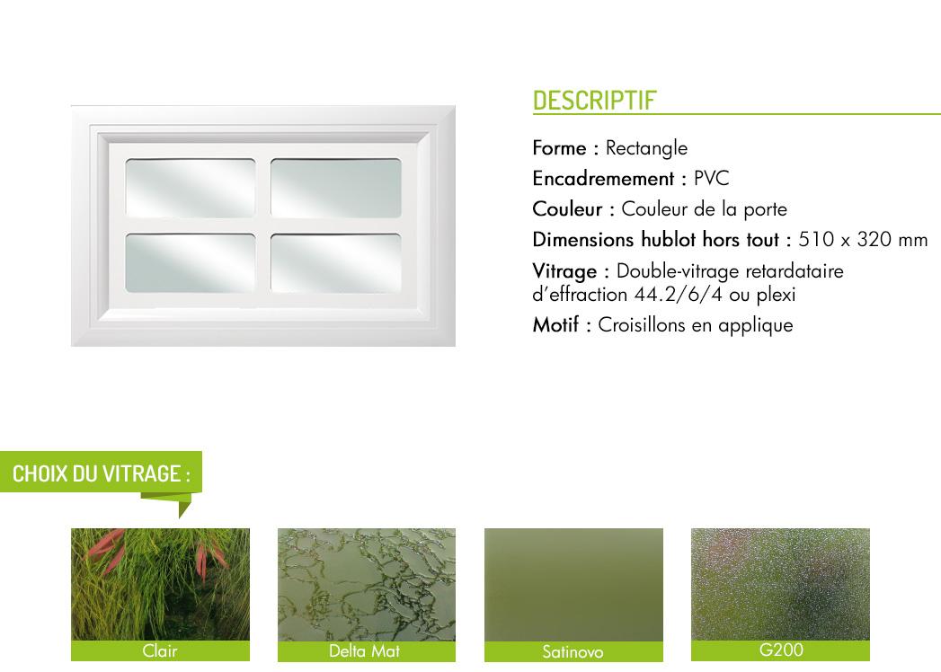 Encadrement PVC rectangle motif intégré croisillon en applique
