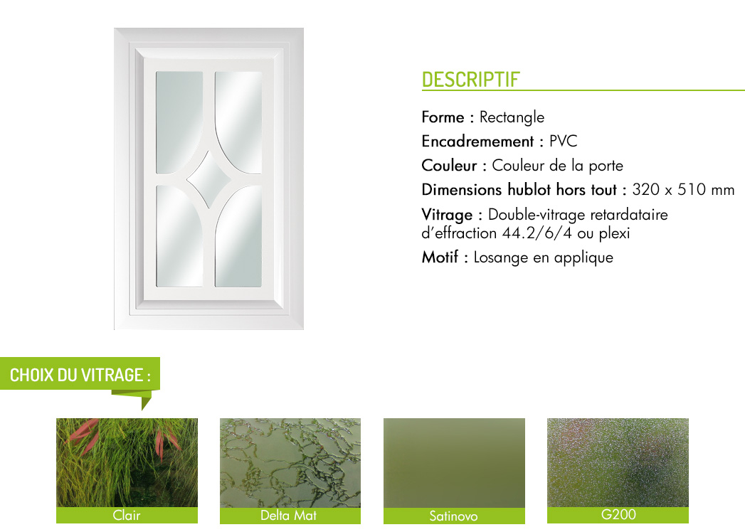 Encadrement PVC rectangle motif losange en applique